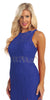 Sleeveless Royal Blue Lace Dress Knee Length Illusion Neck/Waist