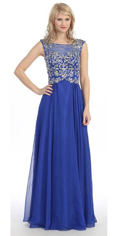 Sleeveless Long Studded A Line Meshed Yoke Royal Blue Prom Dress