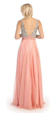 Sleeveless V Neck Studded Long Light Coral Formal A Line Gown