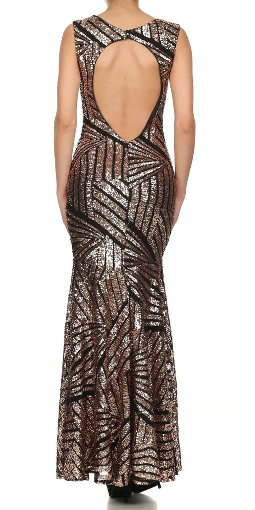 Sparkling Sequin Gown Black Bronze Long Sheath Open Slit Back