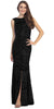 Sparkling Sequin Gown Black Long Sheath Open Slit Back