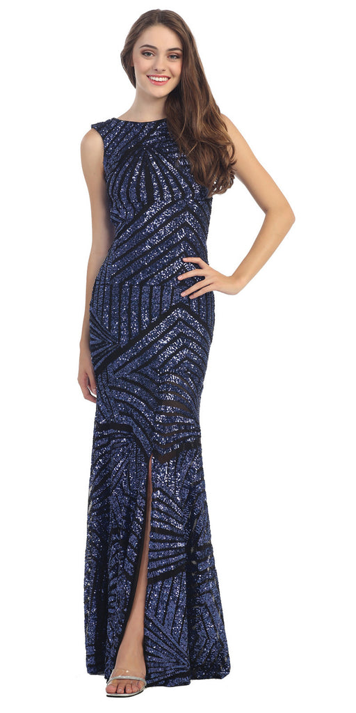 Sparkling Sequin Gown Black Royal Long Sheath Open Slit Back