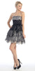 Strapless Bubble Lace Mesh Dress Charcoal Black Short Two Tone