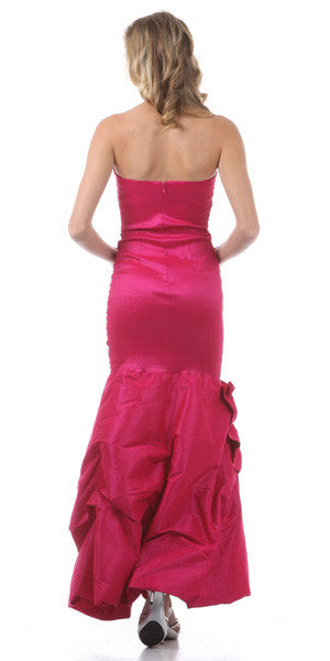 Strapless Long Ruched Torso Fuchsia Trumpet Party Gown
