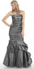 Strapless Long Ruched Torso Charcoal Trumpet Party Gown