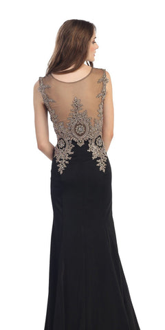 Stretch Satin ITY Formal Gown Black Embroidery Illusion Neck