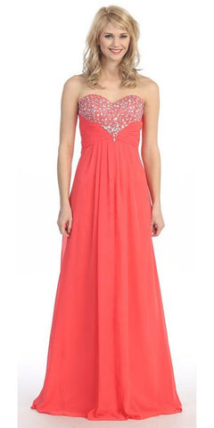 Studded Bodice Sweetheart Neckline Long Coral A Line Gown