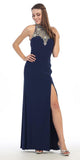 Stunning Formal Gown Navy Blue Front Slit Aztec Bead Design