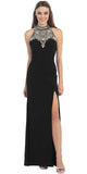 Stunning Formal Gown Black Front Slit Aztec Bead Design