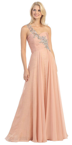 Studded Single Strap Long A Line Dusty Pink Prom Gown