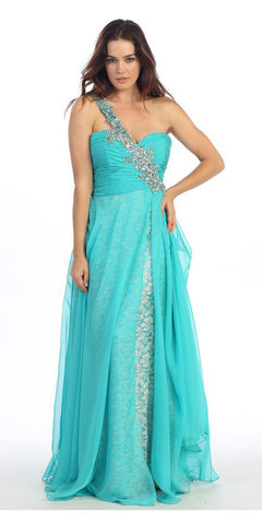 Studded Single Strap Long A Line Jade Prom Gown