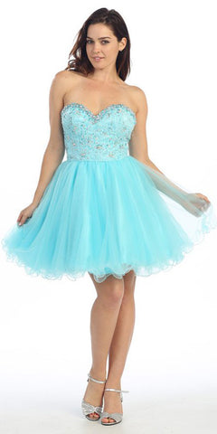 Studded Sweetheart Bodice Baby Blue Short Homecoming Dress