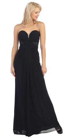 Sweetheart Bodice Strapless Long Black A Line Formal Gown