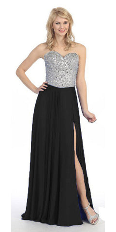 Thigh Slit Studded Bodice Floor Length Black Ball Gown