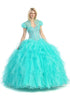 Tiered Ruffled Skirt Studded Bodice Mint Princess Gown