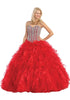 Tiered Ruffled Skirt Studded Bodice Red Princess Gown