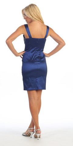 Tight Fit Royal Blue Cocktail Dress Pleated Wide Straps Short Above Knee