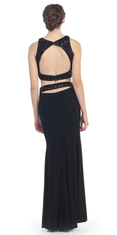 Two Piece Sequins Top Black Black Formal Gown Open Back