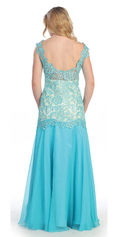 Unique Floor Length Aqua Formal Dress Lace/Chiffon Cap Sleeve Slit