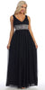 V Neck Empire Waist Dress Black Long Chiffon A Line