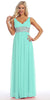 V Neck Empire Waist Dress Mint Long Chiffon A Line