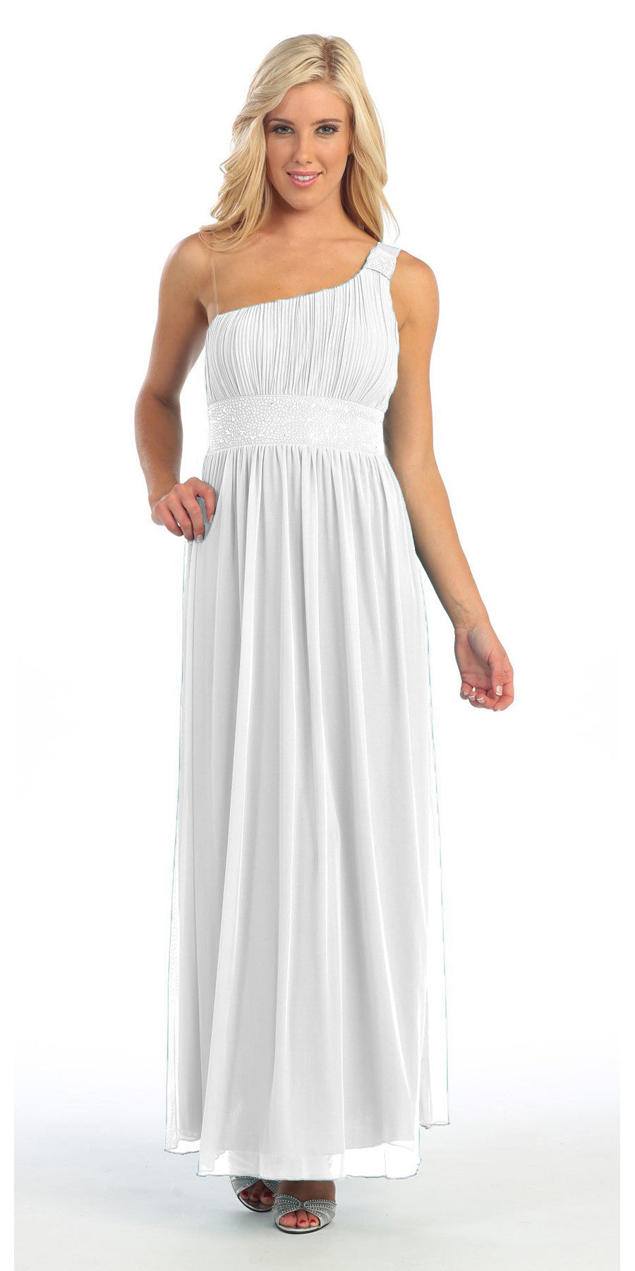 fbebecf74ddb Long White One Shoulder Evening Gown Chiffon Empire Waist Rhinestone. Tap  to expand