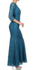 V Neckline Lace Mermaid Dress Teal Long V Neck 3/4 Sleeves