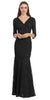 V Neckline Lace Mermaid Dress Black Long V Neck 3/4 Sleeves