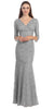 V Neckline Lace Mermaid Dress Silver Long V Neck 3/4 Sleeves