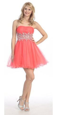 Short Studded Empire Waist Coral Puffy Prom Dress