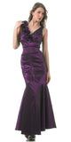 Mermaid Gown Plum Dress Long Satin Flower Strap Flaired Skirt