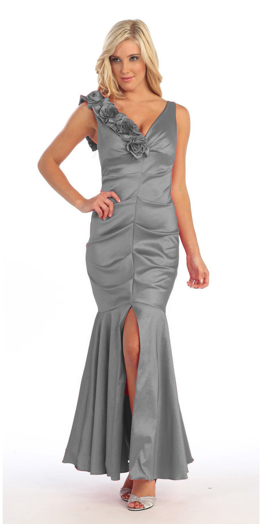 Mermaid Gown Silver Long Taffeta Flower Strap Front Slit ...