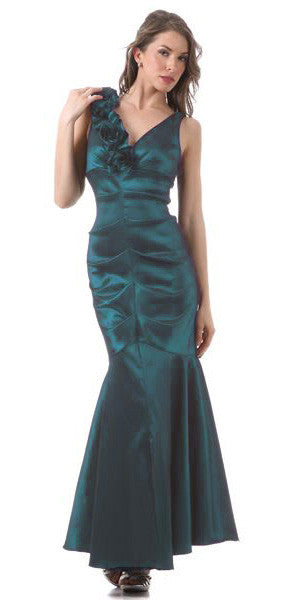 Mermaid Gown Teal Long Taffeta Flower Strap Front Slit