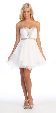 Short White A Line Prom Dress Sweetheart Rhinestone Empire Waist