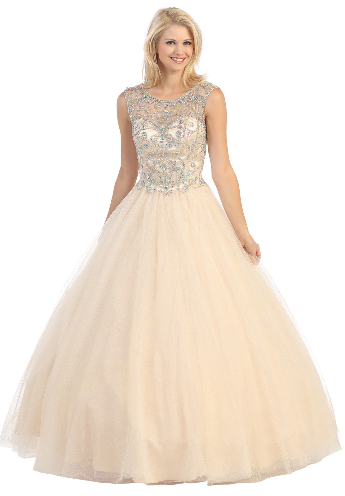 Meshed Yoke Bateau Neckline Champagne/Gold Ball Gown