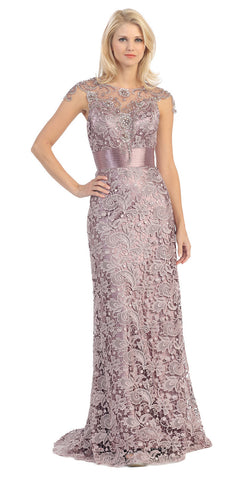 Meshed Yoke Keyhole Back Long Lace A Line Victorian Lilac Formal Dress