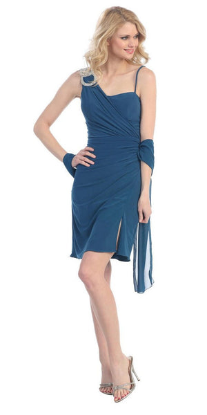 Side Draped Sleeveless Short Teal Cocktail Dress