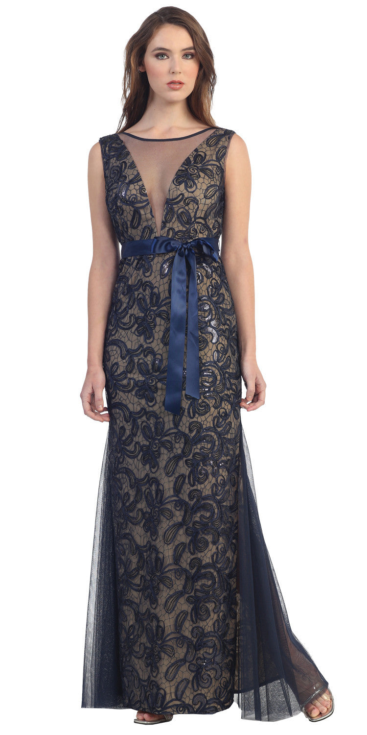 Deep Plunging V Neck Illusion Navy/Gold Evening Gown