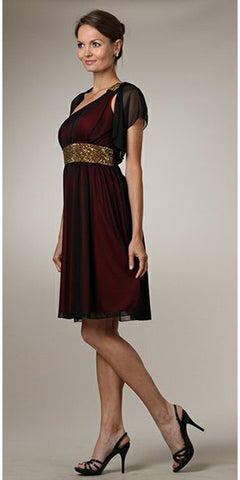 Dinner Party Red Knee Length Dress One Shoulder Strap Black Overlay