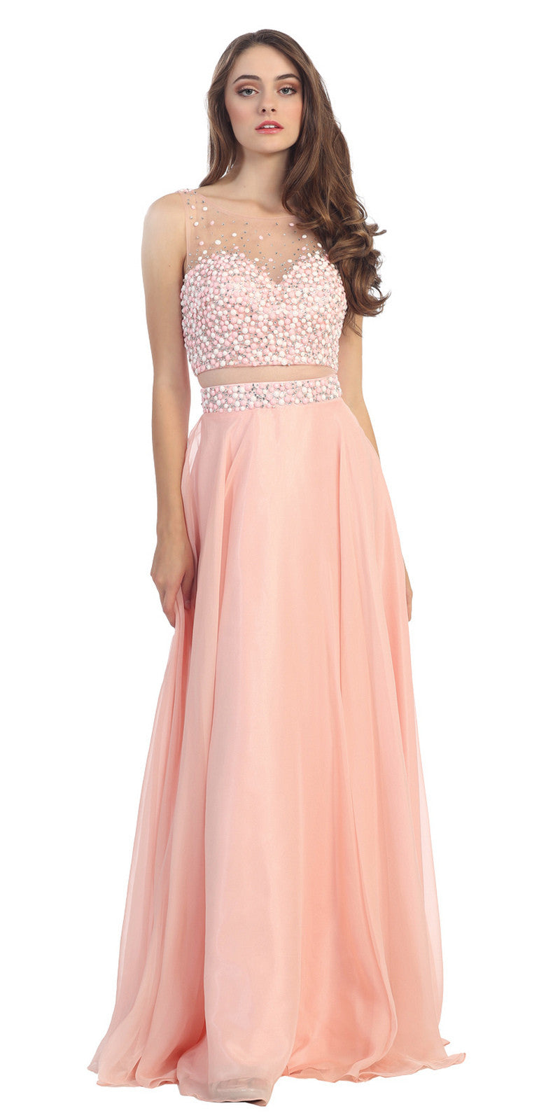 Mock Two Piece Long Chiffon Prom Dress Blush Mesh Waist