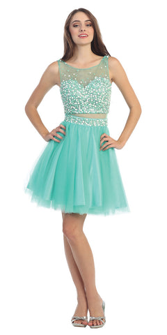 Mock Two Piece Short Mesh Homecoming Dress Mint Mesh Waist