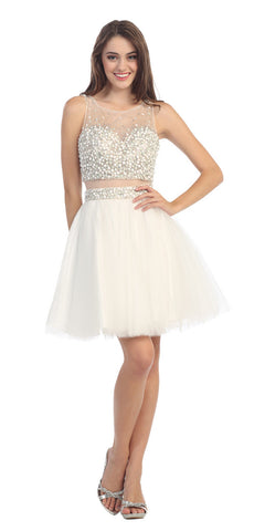 Mock Two Piece Short Mesh Homecoming Dress Off White Mesh Waist