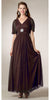 Modest Black Gown Flowy Tea Length Long V Neck Short Sleeves Empire
