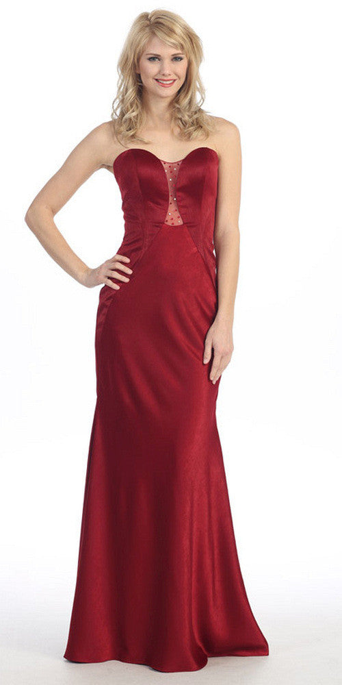Sleek Satin Gown Burgundy Floor Length Strapless Sweetheart
