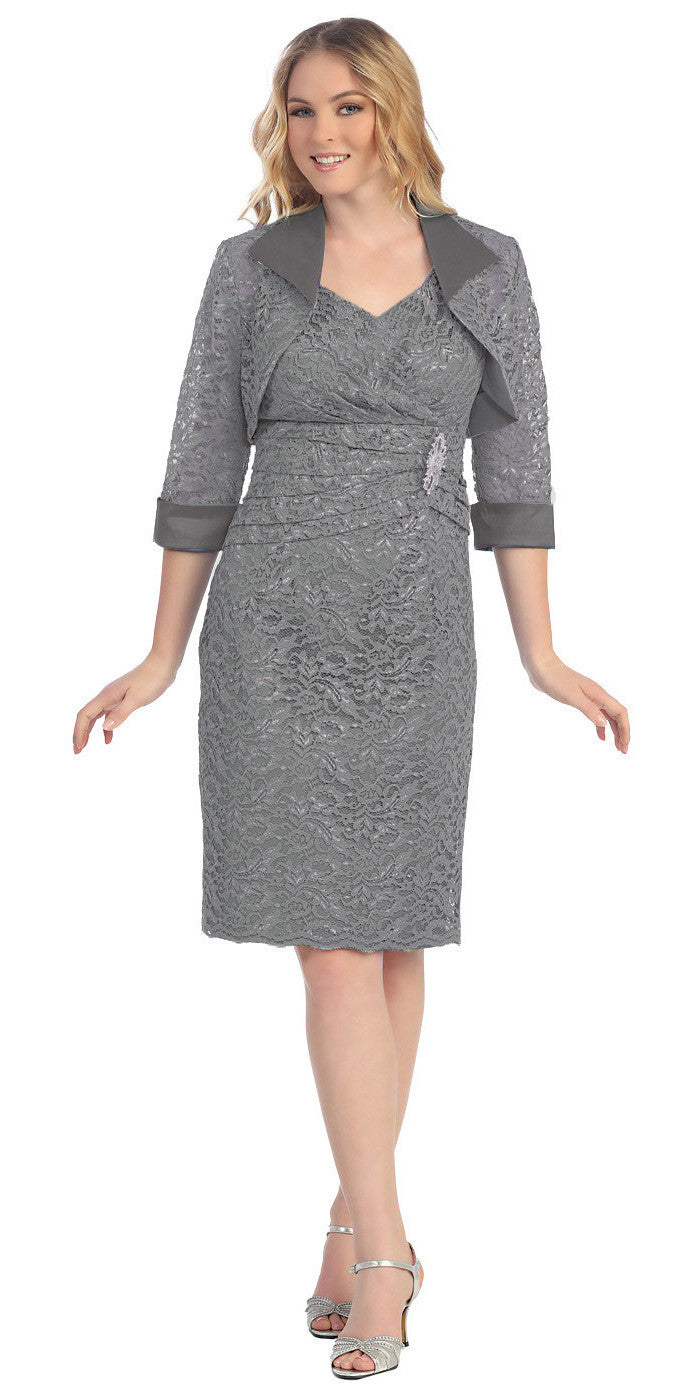 Modest Knee Length Charcoal Lace Mother of Bride Dress W/Jacket Short