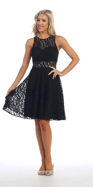 Sleeveless Black Lace Dress Knee Length Illusion Neck/Waist