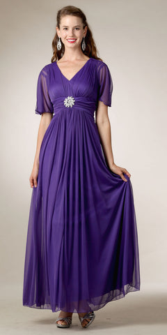 Modest Lavender Gown Flowy Tea Length Empire V Neck Short Sleeves