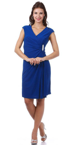 Modest Royal Blue Dress Cap Sleeves V Neckline Chiffon Knee Length