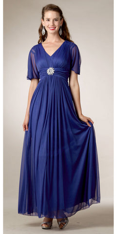 Modest Royal Blue Gown Flowy Tea Length Long V Neck Short Sleeves Empire