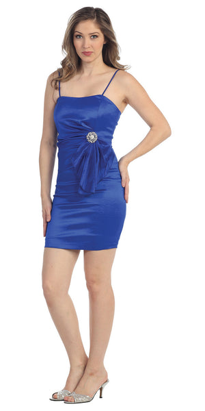 Modest Short Royal Blue Cocktail-Dress Spaghetti Straps Tight Fit